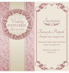Baroque wedding invitation pink and beige vector