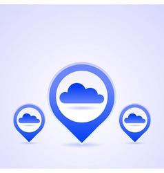 Blue cloud icon set vector