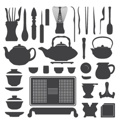 Tea ceremony equipment silhouette set vector