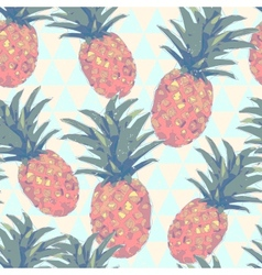 Low poly style seamless pattern with pineapple in vector