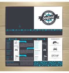 Seafood cafe menu design document template vector