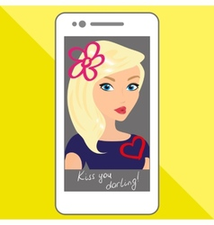 Selfie of blondhair girl with hand drawings vector