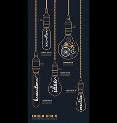 Vintage bulbs concept idea set vector