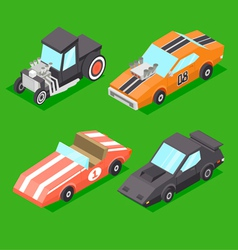 Cartoon isometric super cars vector