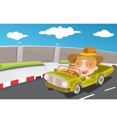 Driving car on highway vector