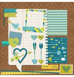 Scrapbook design elements - love heart and arrows vector