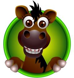 Cute horse head cartoon vector