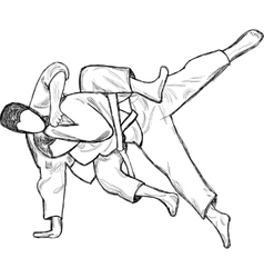 An hand drawn from series martial arts judo vector