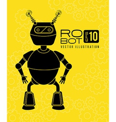 Robot design over yellow background vector