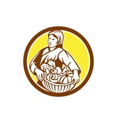 Female organic farmer basket harvest retro vector