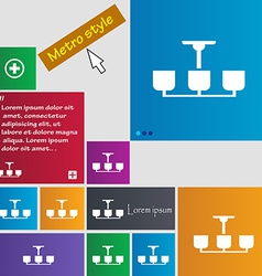 Chandelier light lamp icon sign metro style vector