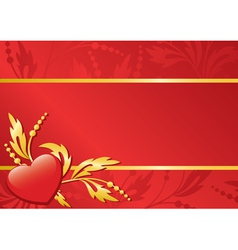 Red floral card with heart vector