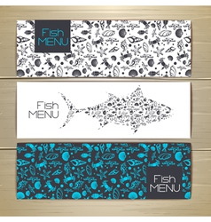 Set of fish seafood banners document template vector