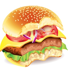 Bitten hamburger photo realistic vector