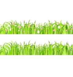 Two seamless patterns with grass and flowers vector