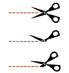 Scissors with red cut lines vector