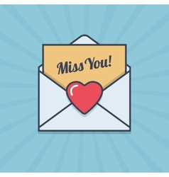 Miss you letter with heart shape in flat style vector