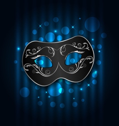 Carnival or theater mask on blue shimmering vector