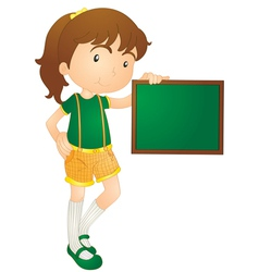 Girl showing board vector