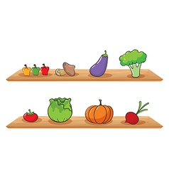 Fruits at the wooden shelves vector