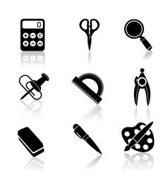 Black school icons set vector