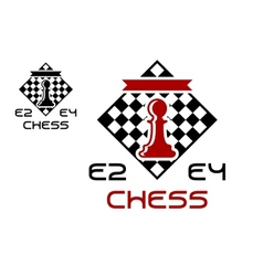 Red pawn on chess board vector