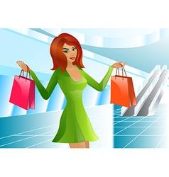 Girl supermarket package vector