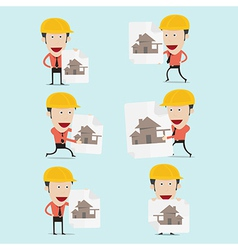 Cartoon engineer charactor for home build vector
