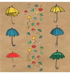 Hand drawn set of colorful umbrellas vector
