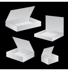 Opened white cardboard package box vector