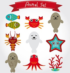 Cute sea animal set including fur seals vector