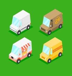 Cartoon isometric minivans vector