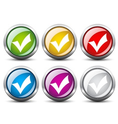 Positive checkmark buttons vector