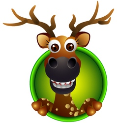 Cute deer head cartoon vector