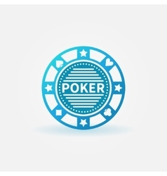 Poker chip blue icon vector