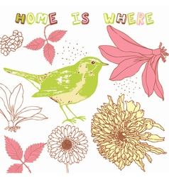 Retro home birds background vector