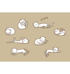 Sleeping cats set vector