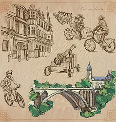 Luxembourg travel - hand drawn pack vector