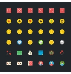 Casino or poker icons set vector