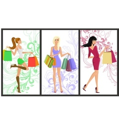 Shopping girl banner vector