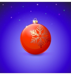 Red christmas ball with snowflake over starry vector