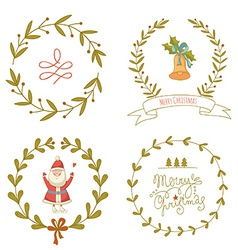 Christmas wreaths set with santa claus and vector