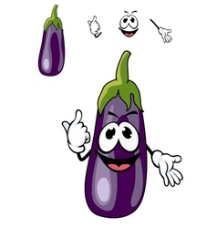 Smiling purple eggplant vegetable vector