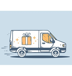 Van free and fast delivering gift box to vector