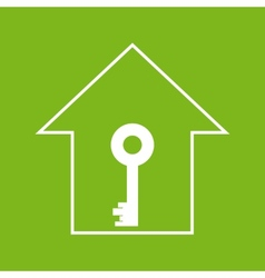 House with key white on green vector