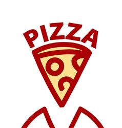 Logo contour slice of pizza vector