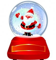 Santa in snow globe vector