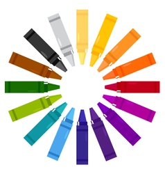Colorful crayons in circle vector