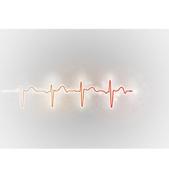 Medical symbol ekg red vector