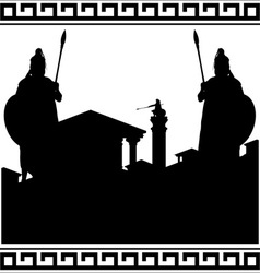 Silhouette of ancient city and guardians vector